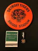 Detroit Tigers Briggs Stadium Pin 3 7/8 With A Pencil Clip And Matchbook All Vg