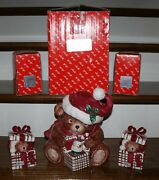 Fitz And Floyd Christmas Plaid Teddy Cookie Jar And Two Lidded Boxes