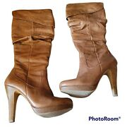 Jessica Simpson Leather Brown Below Knee Ultra High Heel Boots Size 7 B
