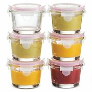 Superior Glass Baby Food Storage Containers Set Of 6-4 Oz Containers With Lids