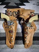 Tootsie Toy 2 Vintage Western Cowboy Pony Boy Cap Gun And Leather Double Holster