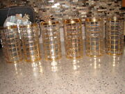 7 Imperial Glass Troil De Oro Gold Square Design Highball Tumblers Hollywood