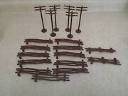 Vtg 1950's Plasticville O Scale Brown 11 Rustic Fence 2 Gates 6 Telephone Poles