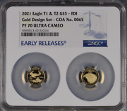 2021 W Gold Eagle 1/10 Oz Proof Two Coin Set Designer Edition Ngc Pf70 - Coa 65