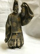 Japanese Antique Old Man Doll Brass Figurine Kimono From Japan