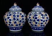 16.5 Old Antique Yuan Dynasty Porcelain Pair Blue White Gourd Baby Pattern Pots
