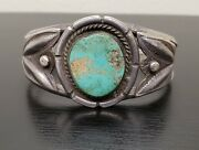 Vintage Sterling Silver Turquoise Cuff Bracelet Old Pawn Amazing Piece