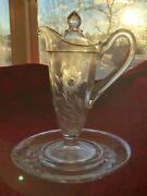 Cambridge Plainware 1917/384 5 Oz Syrup, Lid And Underplate - Floral Etch
