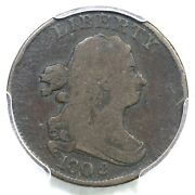 1802/0 C-2 R-3 Pcgs Vg 10 Rev Of 1802 Draped Bust Half Cent Coin 1/2c