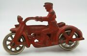 Vintage Original 1930s Hubley Cast Iron Red Cop Police Motorcycle With Side Car