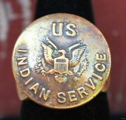 Old Men's Ring W Antique Military Brass Us Indian Service Button Size 10.5