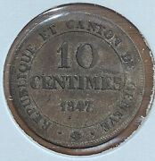 1847 Swiss-canton 10 Centimes Coun In Extra-fine+ Grade