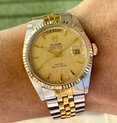 1988 Vintage Tudor Day Date 36mm Automatic Watch Linen Dial Serviced 94613 9450