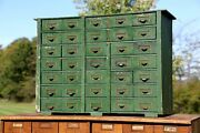 Antique Apothecary Wood Cabinet Vintage 35 Drawer Green Box Library Card Catalog