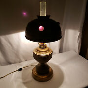 Vintage Antique Jewel Brass Oil Lamp French Glass Chimney Electrified Art