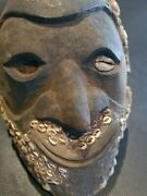 Antique New Guinea Wooden Head With Cowrie Shells Beard And Hair. East Sepik.