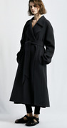 Nwt 8990 The Row Efo Belted Cashmere-blend Felt Coat In Shadow Grey Sz M