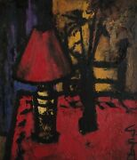 Painting Signed Still Life Table Lamp Flower Vase Expressionism