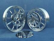 Harley Chrome Dyna Low Rider Wheels Fxdl 14-17 W/ Rotors Pulley Exchange Program