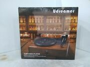 Udreamer Vinyl Record Player Bluetooth Turntable With Built-in Speakers- Brown