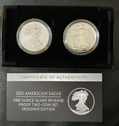 Us Mint 2021 American Eagle One Ounce Silver Reverse Proof Two-coin Set New