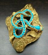 Antique Victorian European 14k Gold And Turquoise Snake Brooch / Pendant