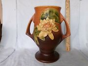 1945 Roseville Water Lily Brown Double Handled Vase 78-9 Beautiful Mint.