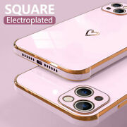 For Iphone 13 12 Pro Max 11 Xs Xr 7 8 Plus Plating Glossy Heart Soft Case Cover