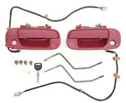 97-01 Honda Prelude Exterior Door Handle Pair Red With Key Power Locks And Bolts