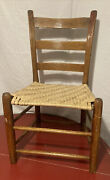 Antique Wood Ladder Back Side Dining Chair Basket Weave Hickory Woven Seat