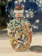 19th Antique Chinese Carved Porcelain Snuff Bottle With Eight Immortal