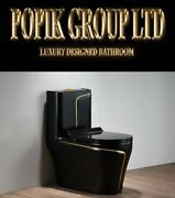 Black Luxury Toilet Design Model With Gold Line Wc