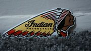 Vintage Indian Motorcycles Porcelain Sign Chief Gas Oil Station Pump Plate Rare