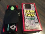 Vintage 1958 Coffin Bank Tin Toy Made In Japan Wind Up With The Box Works Great