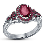 1.35 Ct Pink Oval Sapphire 14k White Gold Over Ladieand039s Engagement And Wedding Ring