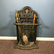 Ornate 19th C Victorian Cast Iron Fireplace Tool Stand / Umbrella Stand