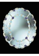 Mirror Oval Glass Of Murano With Gold Cert Engraved By Hand In Italy