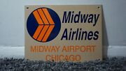 Vintage Midway Airlines Porcelain Sign Gas Metal Service Station Oil Ad Airplane