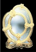 Mirror Venetian Table Glass Of Murano Frame With Gold 24 Handmade