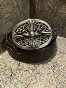 Authentic Chrome Hearts Classic Cross Buckle With Cross Brown Leather Belt
