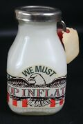 Vintage Stop Inflation Half Pint Milk Bottle Coin Bank Lock With Key Bower Mfg.