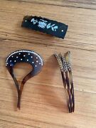 Three Excellent Vintage Tortoise Rhinestone, Mother Of Pearl, Hair Clips