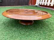 Antique Vintage Wooden Light Mahogany Rotating Tray Lazy Susan Turntable Stand