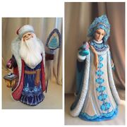 Christmas Figurine From Russia Handmadewooden Santa And Snow Maiden Collectible