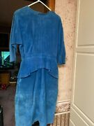 Bermanand039s Sexy Blue Leather Dress Open Back And Peplum Size 12