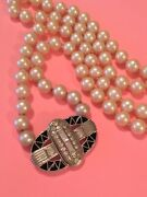 Givenchy Vintage Signed Art Deco Clasp Faux Pearl Necklace As Is