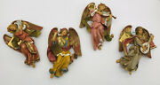 4 Fontanini Angels Playing Instruments Vintage Made And Bought In Italy