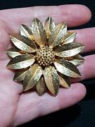 Large Vintage Gold Tone Sarah Coventry Brooch Canada Sunflower Gift Pin Floral