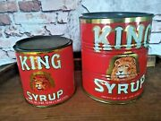 Vintage King Syrup Tin Red Can Lot Of 2 8 Lbs 12 0z And 1qt 12 0z