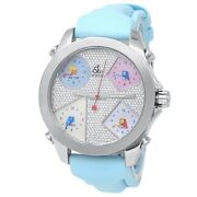 Jacob And Co Five Time Zones Stainless Steel Blue Rubber Diamonds Pave Watch Jcm44